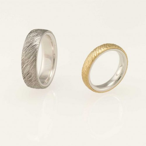 Ellipse Two Tone 18k Ladys Hammered Wedding Ring & 19k Gold Mens Hammered Wedding Ring - NEWA Goldsmith