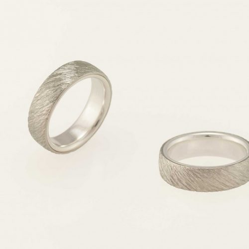 Ellipse Handmade Two Tone 19k White Gold Mens Hammered Wedding Ring - NEWA Goldsmith
