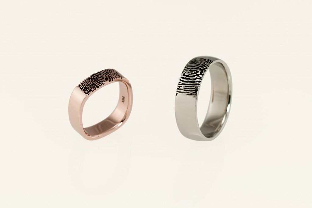 18k Rose + 14k White Gold Matching His Her Fingerprint Wedding Rings - NEWA Goldsmith