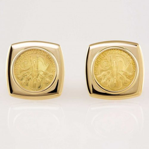14k Yellow Gold Cushion Shaped Custom Antique Coin Cufflinks - NEWA Goldsmith