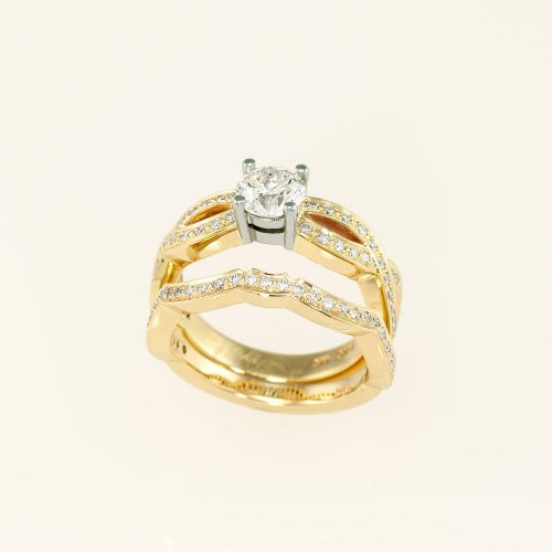 14k Yellow & 19k White Gold Infinity Engagement Ring + Flush Fit Wedding Band - NEWA Goldsmith