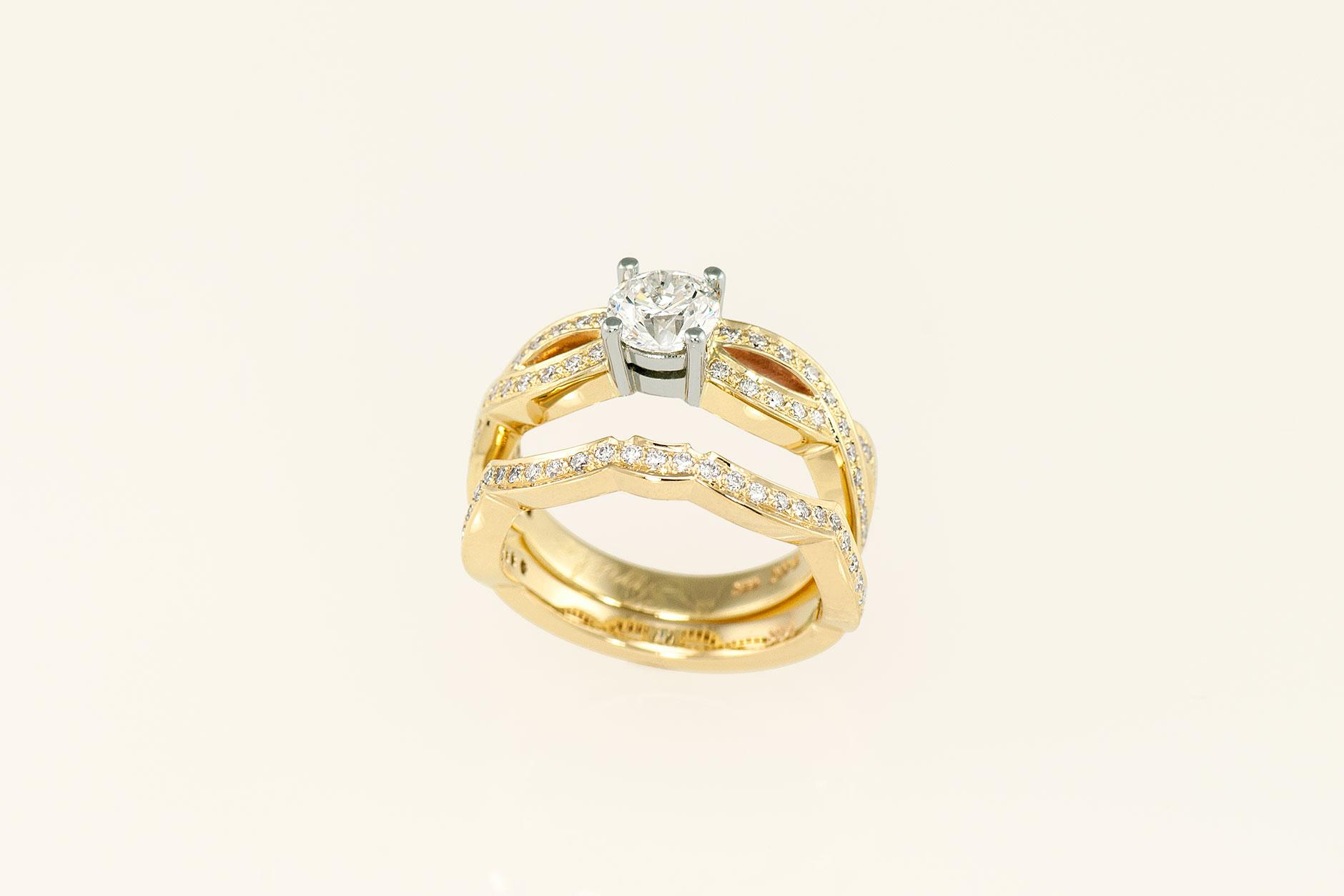14k Yellow & 19k White Gold Infinity Engagement Ring + Flush Fit Wedding Band - NEWA Goldsmith