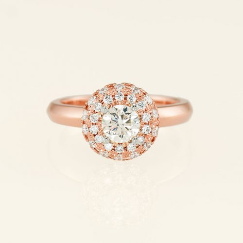 Diamond 18k Rose Gold Double Halo Engagement Ring - NEWA Goldsmith