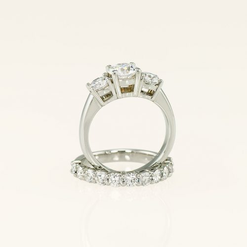 19k White Gold Basket Set 3 Stone Engagement Ring + Matching Diamond Wedding Band - NEWA Goldsmith