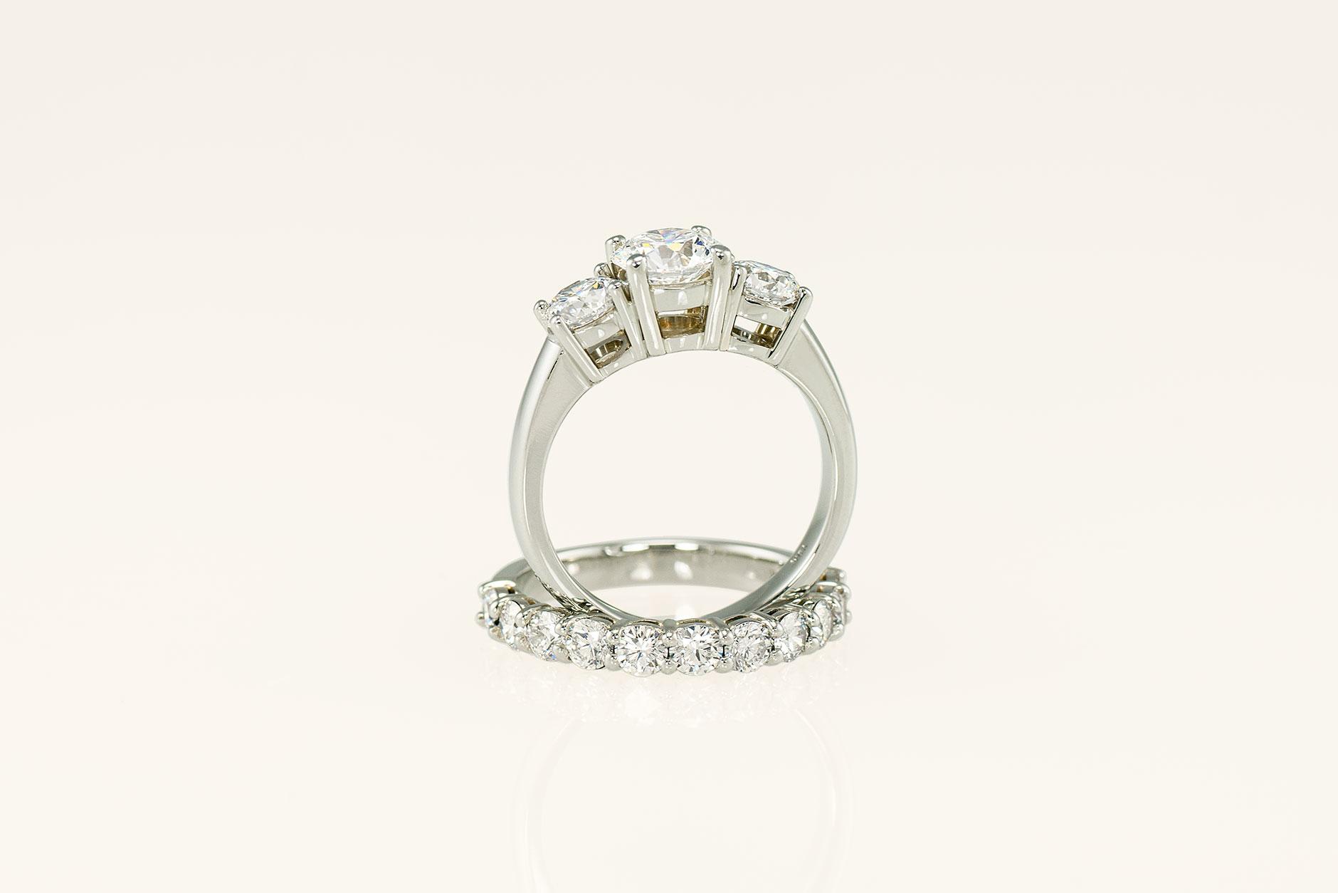 19k White Gold Basket Set 3 Stone Engagement Ring + Matching Diamond Wedding Band - NEWA Goldsmith