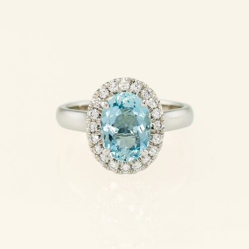 19k White Gold & Platinum Oval Aquamarine Halo Ring w Diamonds - NEWA Goldsmith