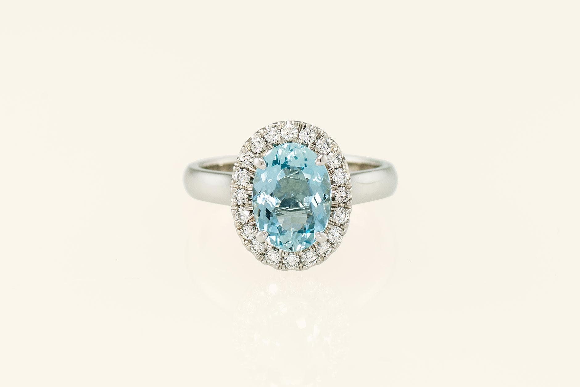 19k White Gold & Platinum Oval Aquamarine Halo Ring w Diamonds - NEWA Goldsmith