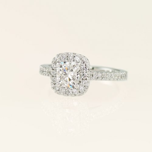 Handcrafted 19k White Gold Cushion Cut Diamond Halo Ring w Micro Pave - NEWA Goldsmith