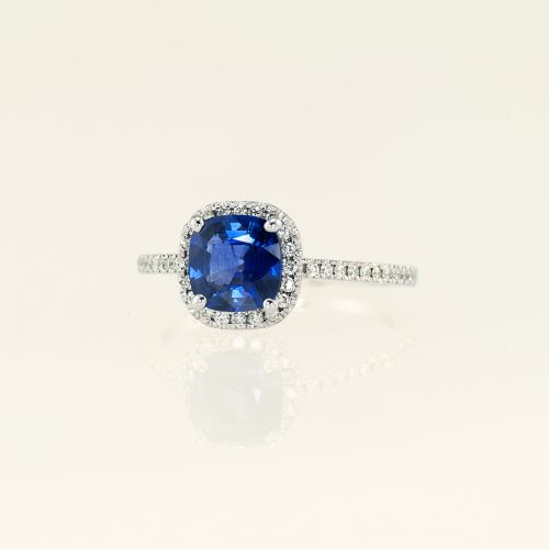 19k White Gold Cushion Cut Blue Sapphire Halo Engagement Ring - NEWA Goldsmith