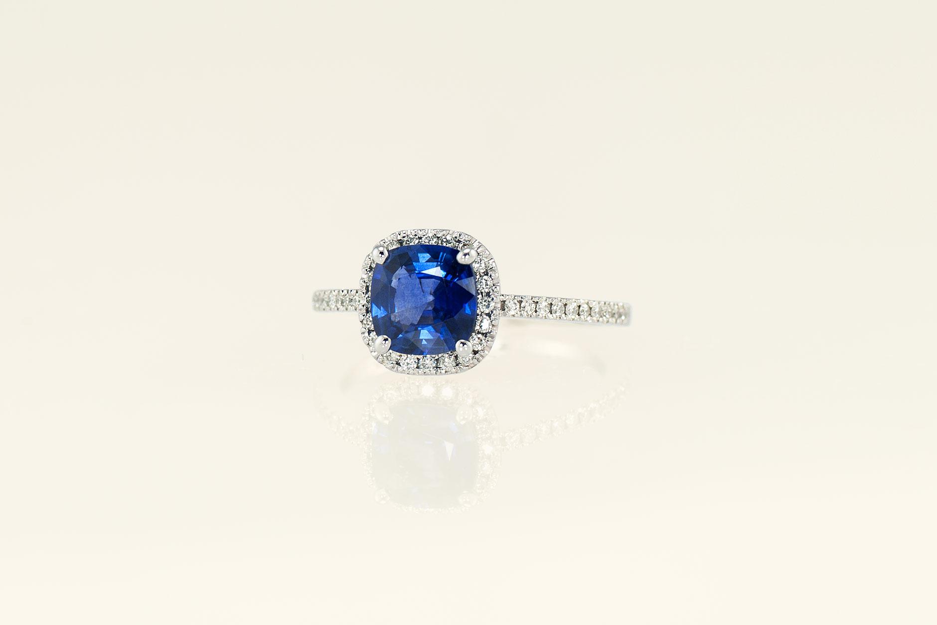 19k White Gold Cushion Cut Blue Sapphire Halo Engagement Ring - NEWA Goldsmith