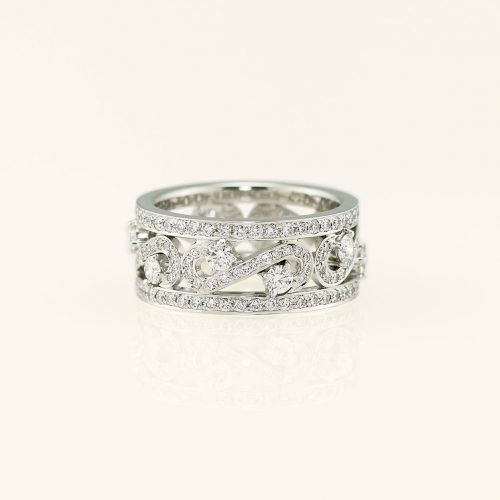 Handcrafted 19k White Gold Diamond Scroll Ring - NEWA Goldsmith