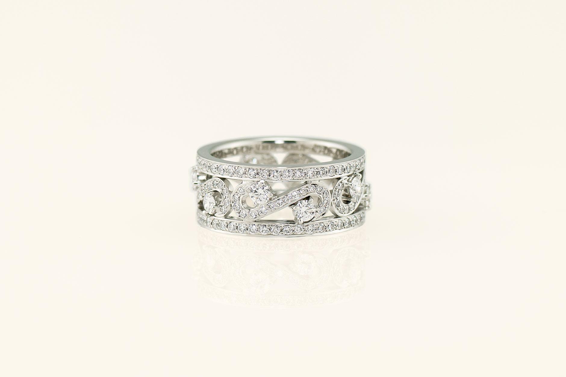 Handcrafted 19k White Gold Diamond Scroll Ring - NEWA Goldsmith