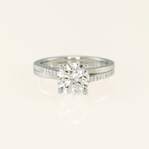 Duo 19k White Gold Micro Pave Engagement Ring - NEWA Goldsmith
