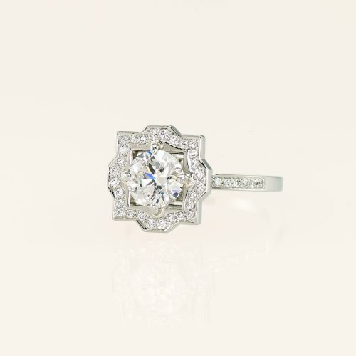 19k White Gold Floral Diamond Halo Engagement Ring - NEWA Goldsmith
