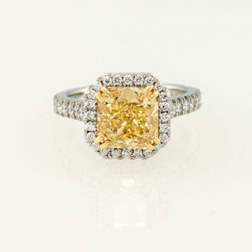 Custom 3 ct 19k Gold Radiant Cut Yellow Diamond Halo Ring - NEWA Goldsmith