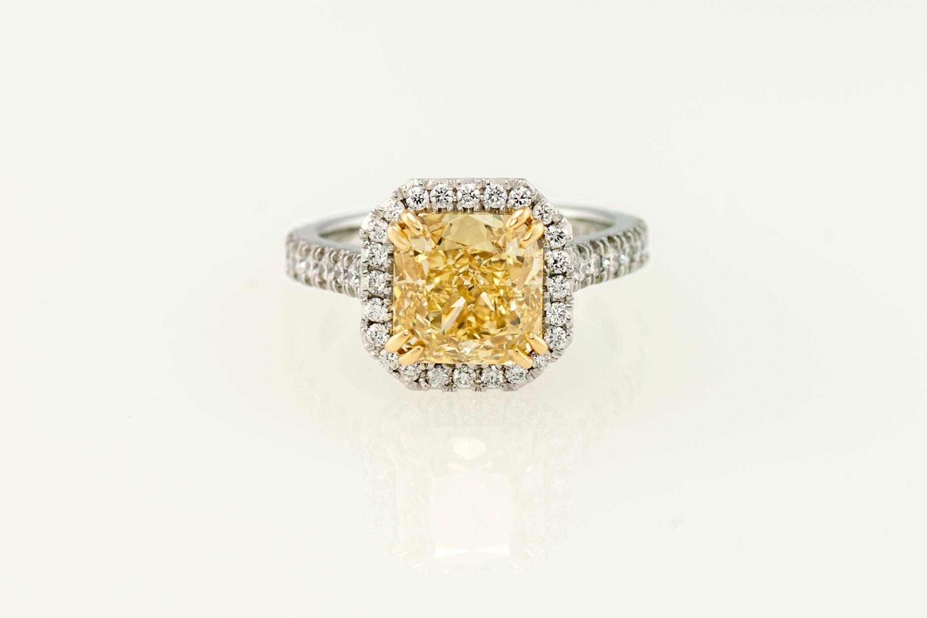 Custom 3 ct 19k Gold Radiant Cut Yellow Diamond Halo Ring - NEWA Goldsmith
