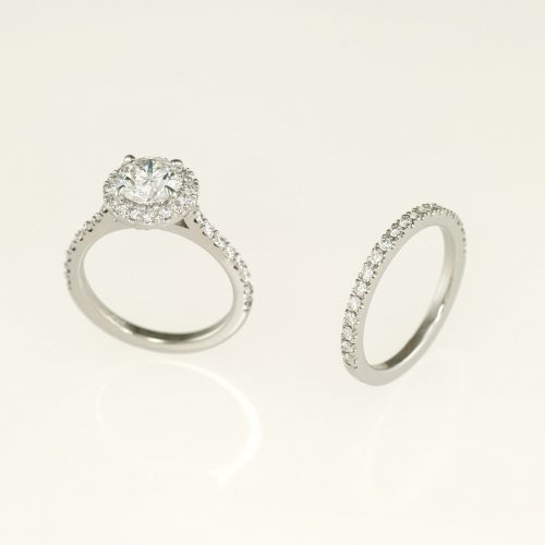 Handcrafted 19k White Gold Halo Ring With Matching Wedding Ring Scalloped Settings - NEWA Goldsmith