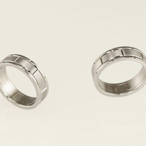 Mens 19k White Gold Custom Watch Link Wedding Ring - NEWA Goldsmith