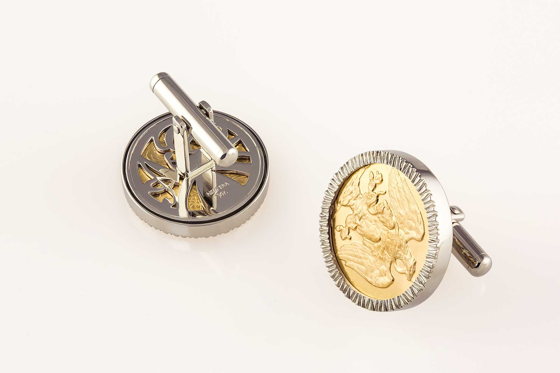 Handmade 14k White Gold Custom Antique Coin Cufflinks with Swivel Backs - NEWA Goldsmith