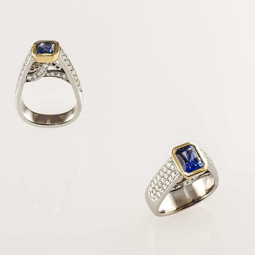 Custom Platinum Blue Sapphire Engagement Ring with Pave Set Diamonds - NÉWA Goldsmith