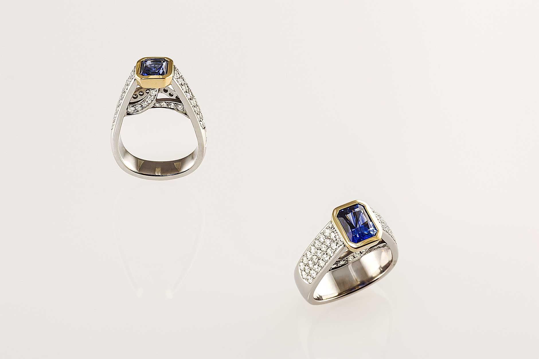 Custom Platinum Blue Sapphire Engagement Ring with Pave Set Diamonds - NÉWA Goldsmith