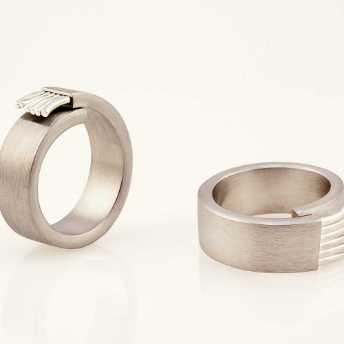 Fiber handmade silver and 19k white gold ring - NEWA Goldsmith