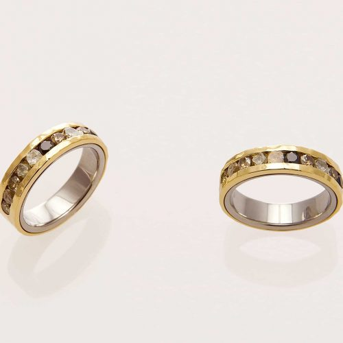 Ellipse 18k & 19k White Gold Champagne Diamond Channel Set Wedding Ring - NÉWA Goldsmith