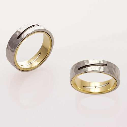 STAPLE 18k & 19k Custom Two Tone Hammered Mens Wedding Band - NÉWA Goldsmith
