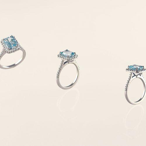 handcrafted 18k white gold aquamarine halo engagement ring - NÉWA Goldsmith