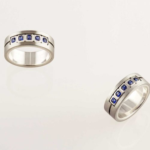 Ellipse - Platinum, silver, 19k Blue Sapphire Wedding Band - NÉWA Goldsmith