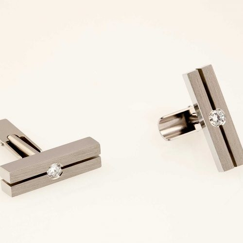 Parallels - 19k White Gold Handcrafted Custom Diamond Cufflinks - NEWA Goldsmith
