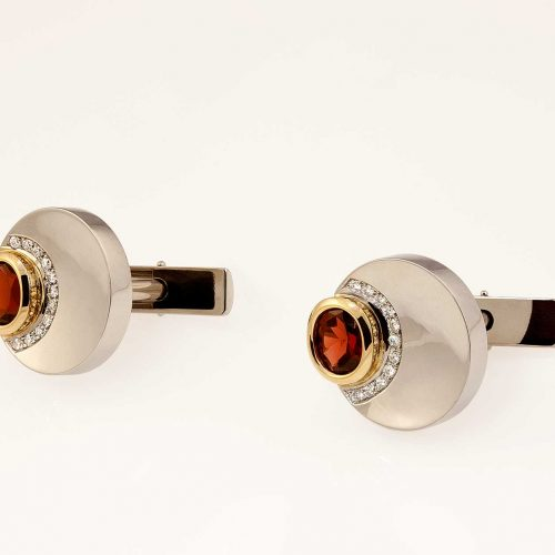 Concave 18k & 19k White Gold Custom Diamond Garnet Cufflinks with Swivel Backs - NEWA Goldsmith
