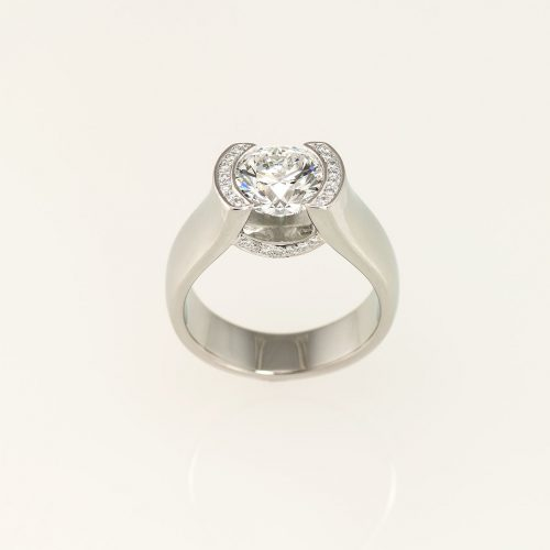 19k White Gold Modern Tension Set Diamond Engagement Ring - NEWA Goldsmith