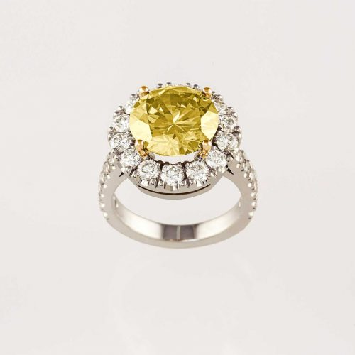 3ct 19k white gold yellow diamond halo engagement ring - NÉWA Goldsmith