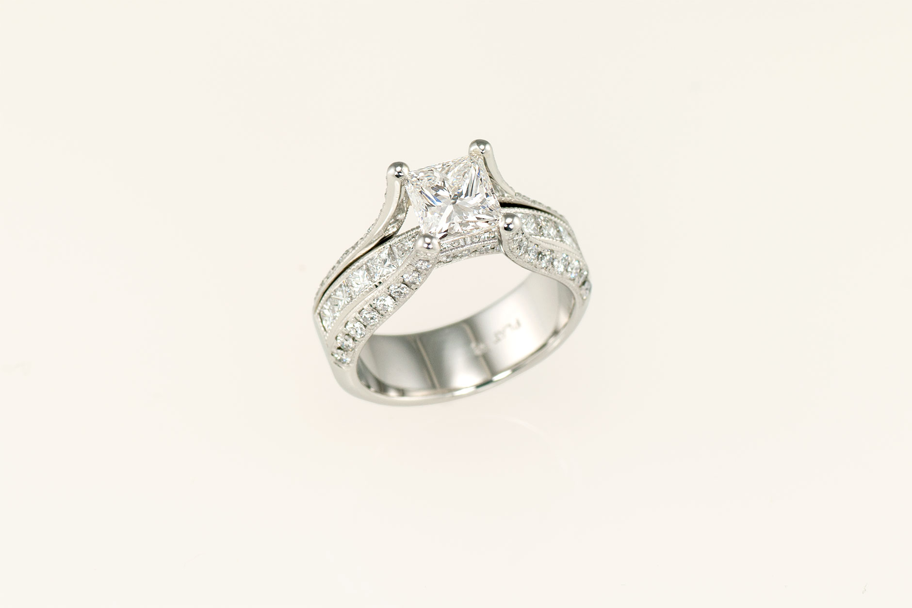 Custom Platinum Princess Cut Diamond Engagement Ring w Milgrain Edges - NEWA Goldsmith