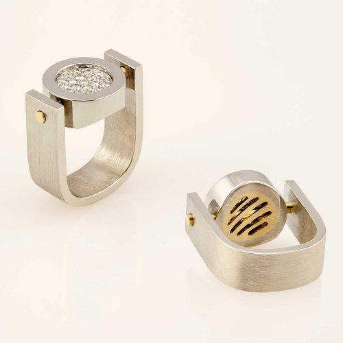 Grillé - Diamond 19k Custom Right Hand Ring w 18k inlay - NÉWA Goldsmith