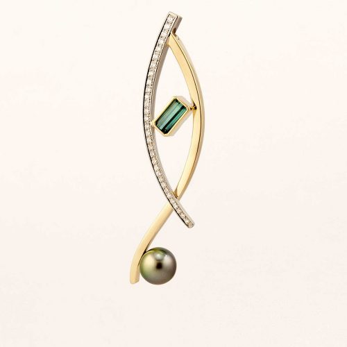 Custom 19k & 18k Gold Blue Green Tourmaline Pendant Diamond Accents with Tahitian Pearl - NEWA Goldsmith