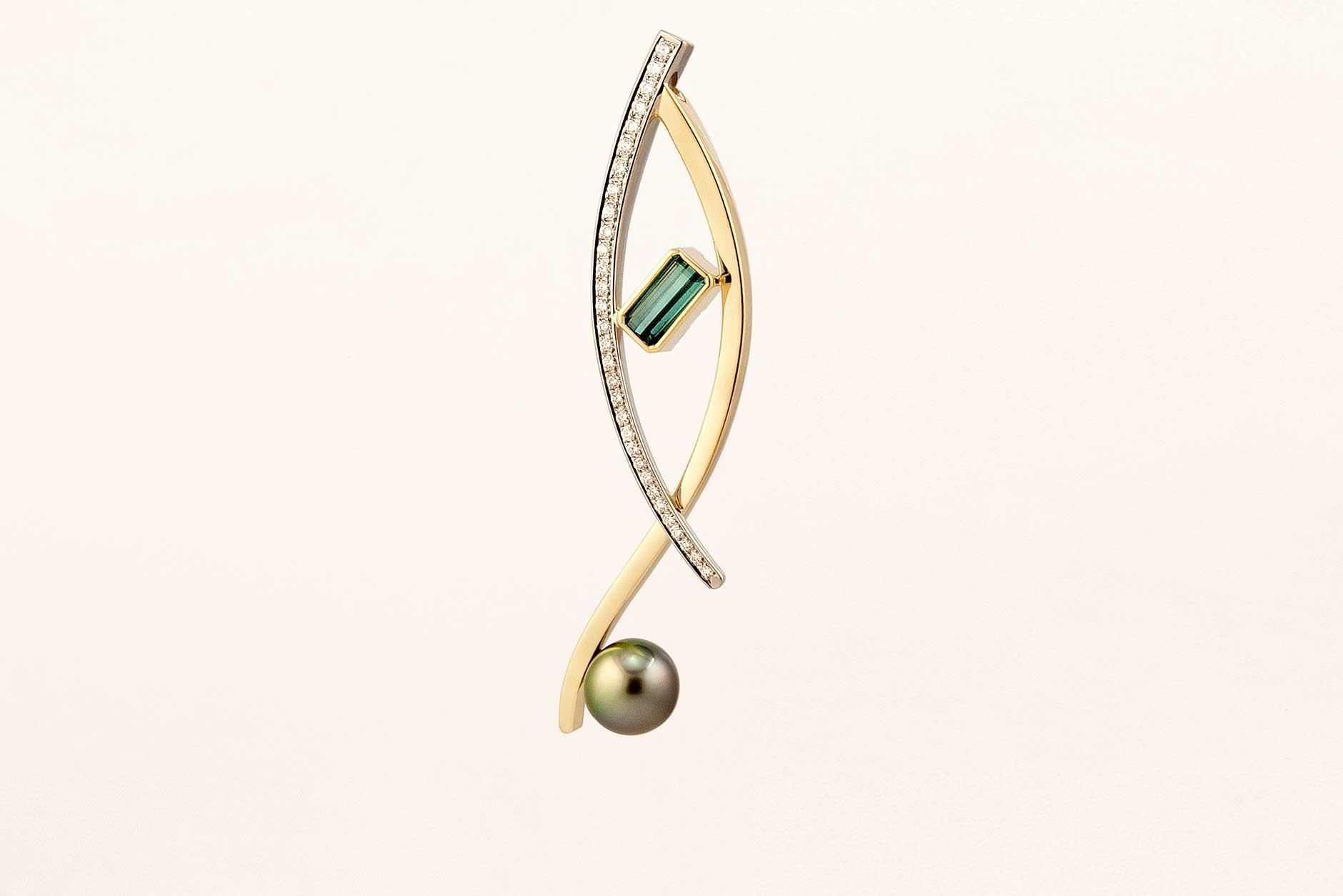 Custom 19k & 18k Gold Blue Green Tourmaline Pendant Diamond Accents with Tahitian Pearl - NEWA Goldsmith