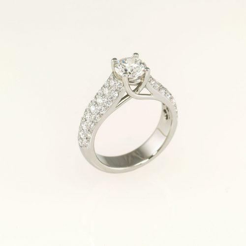 Crossover Custom 19k White Gold Diamond Engagement Ring - NEWA Goldsmith