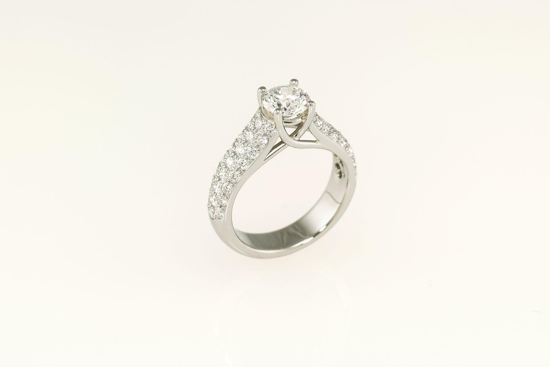 Crossover Custom 19k White Gold Diamond Engagement Ring - NEWA Goldsmith