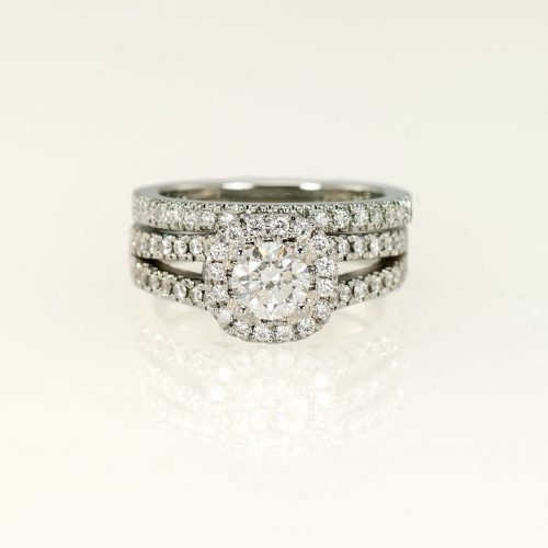 Soft Square 19k White Gold Halo Ring & Matching Micro Pave Wedding Band - NEWA Goldsmith