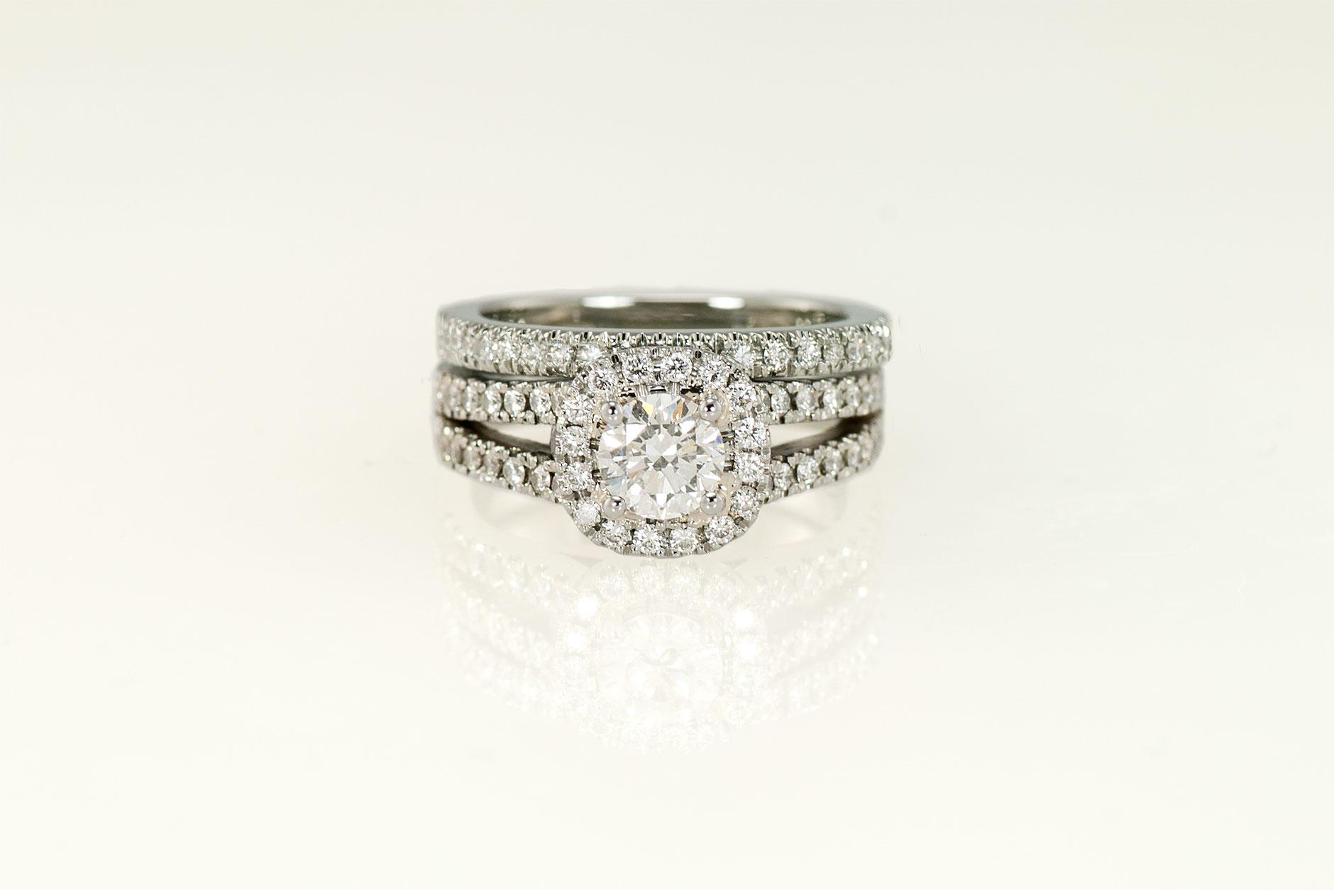 Soft Square 19k White Gold Halo Ring & Matching Micro Pave Wedding Band - NEWA Goldsmith