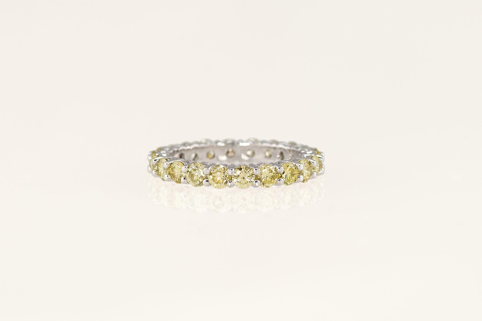 19k White Gold Basket Set Handmade Yellow Diamond Eternity Ring - NEWA Goldsmith