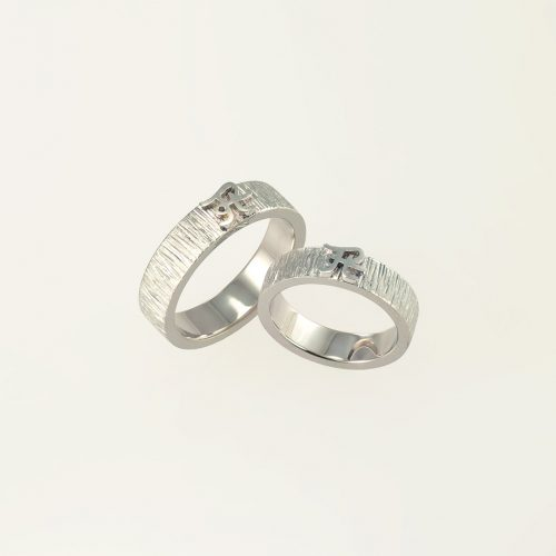 18k White Gold + Platinum Matching Custom Monogram Wedding Rings - NEWA Goldsmith