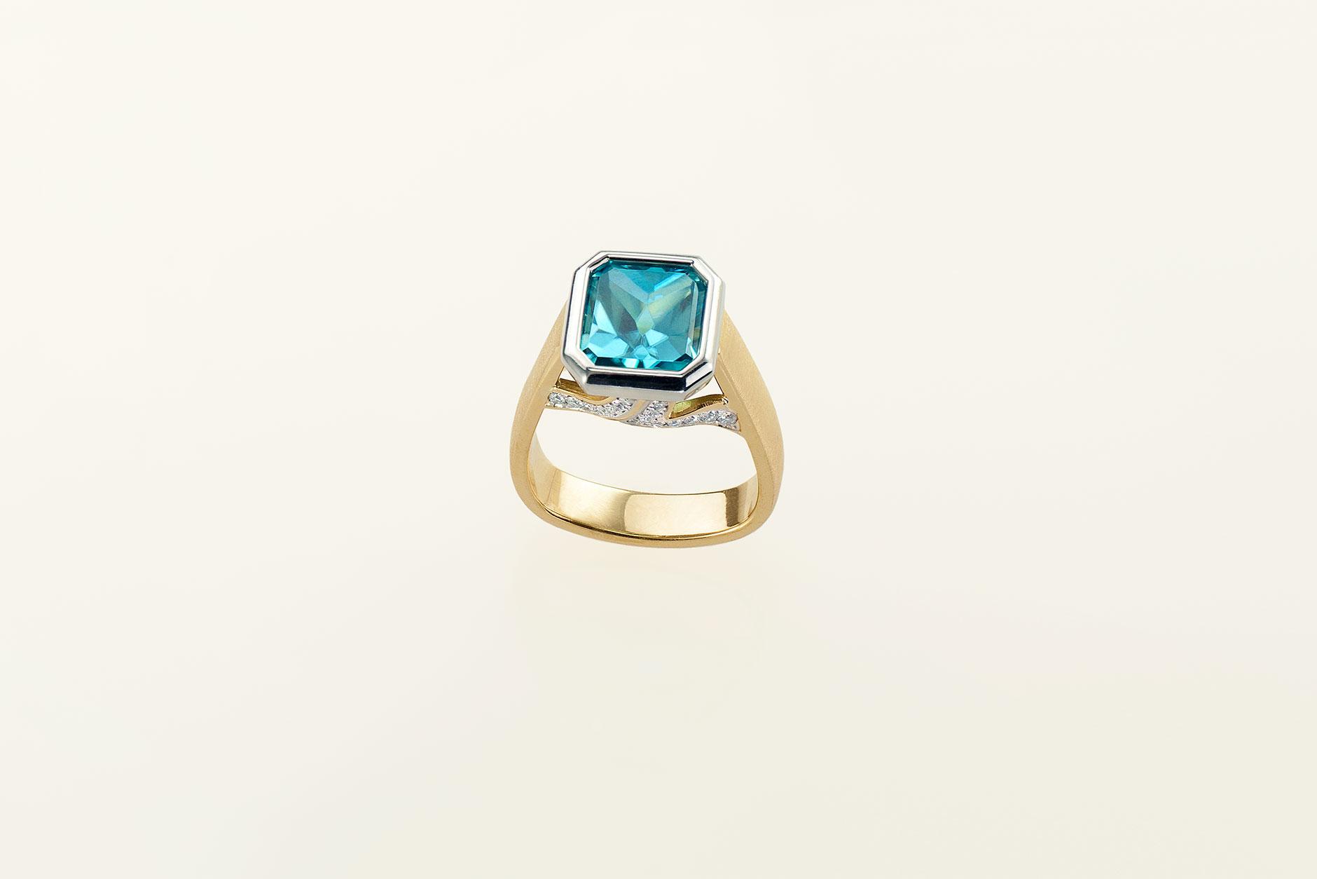 Handmade Custom 18k Platinum Blue Zircon Engagement Ring w Diamond Ribbons - NEWA Goldsmith