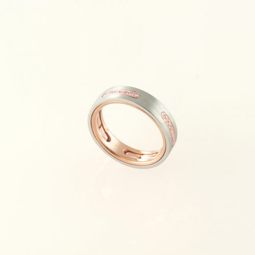 Staple Platinum & 18k Custom Natural Pink Diamond Wedding Band - NEWA Goldsmith
