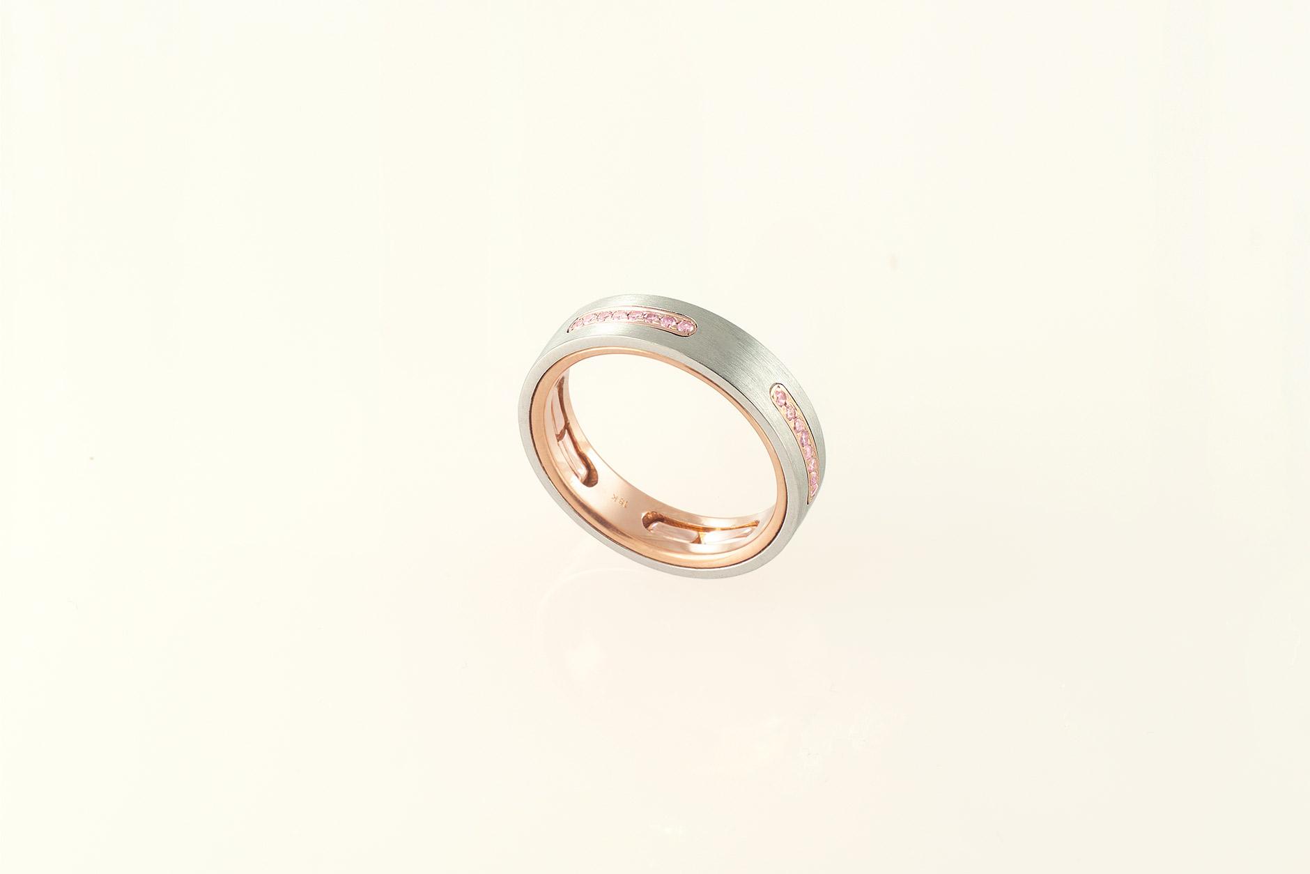 Staple Platinum & 18k Custom Natural Pink Diamond Wedding Band - NEWA Goldsmith
