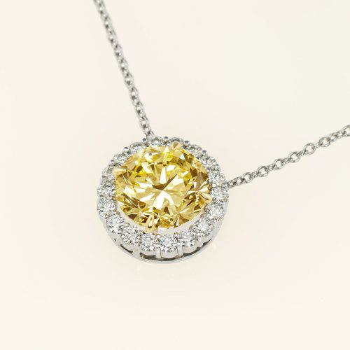 Custom Platinum & 18k 8.9 ct Fancy Yellow Diamond Halo Pendant - NEWA Goldsmith
