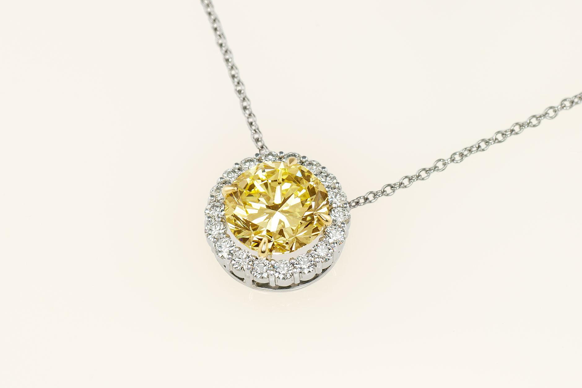 Custom Platinum & 18k 8.9 ct Fancy Yellow Diamond Halo Pendant - NEWA Goldsmith
