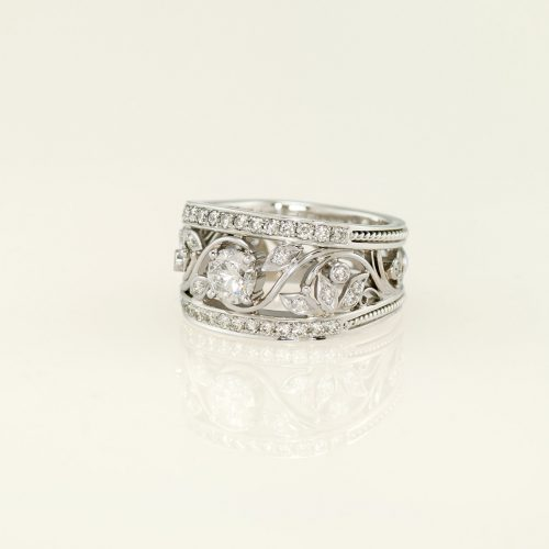 Handcrafted Diamond Custom Made Platinum Leaf and Vine Ring - NEWA Goldsmtih